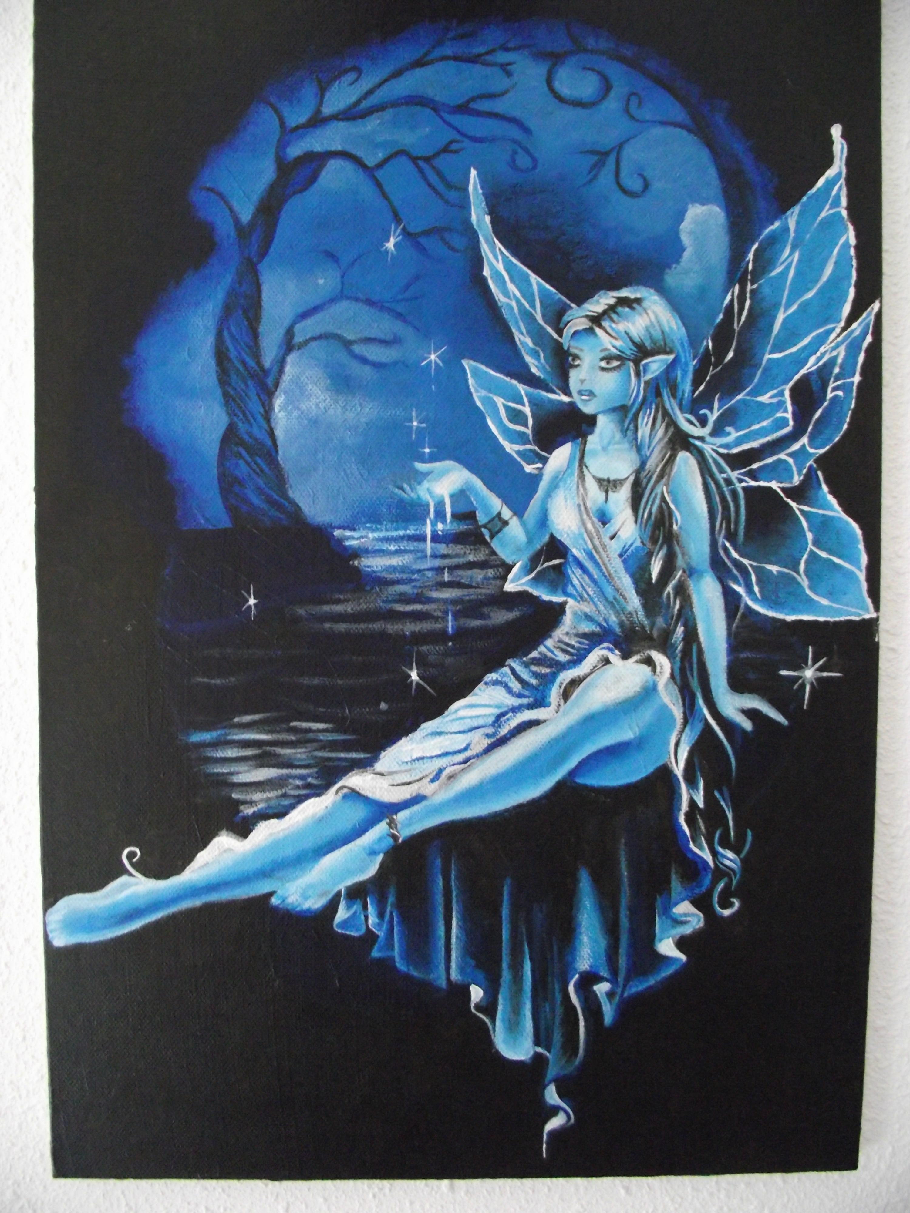 Fée Bleue peinture acrylique